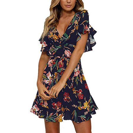 Women Casual Ruffled Sleeve Asymmetric Cross V-Neck Dress Floral Print Short Mini Summer Dress