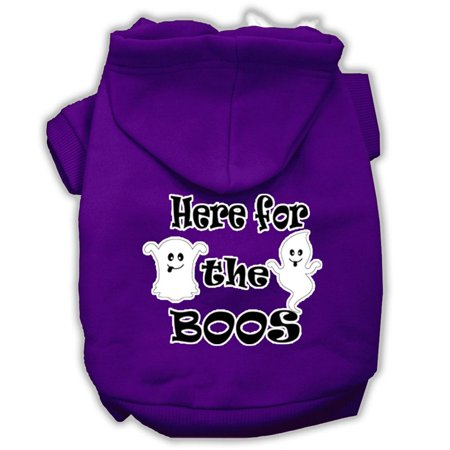 Here For The Boos Screenprint Dog Hoodie Purple L 14