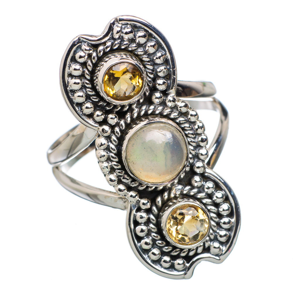 Ana Co Natural Ethiopian Opal, Citrine 925 Sterling Silver Ring Size 7.5 RING803838