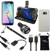 S7 Edge Case and Accessories, DigitalsOnDemand ® 9-Item Bundle for Samsung Galaxy S7 Edge - TPU Cover, Black Leather Case, Screen Protector, Stylus, USB 2.0 Cable, Car Charger, OTG, AUX, Travel Bag