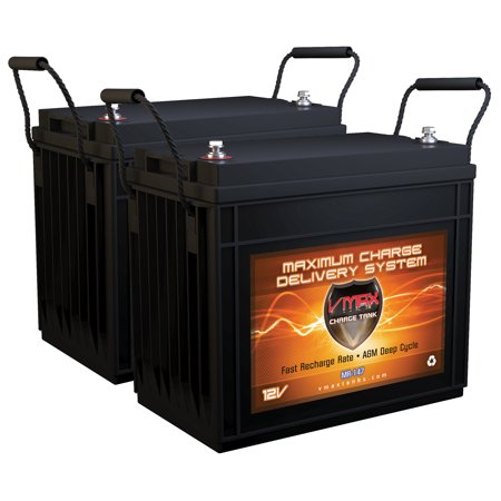 QTY2 VMAX MR147-155 12V 155AH AGM Deep Cycle Batteries for Minn Kota Pontoon 70 - Hand Control 24V 70lb Trolling Motor
