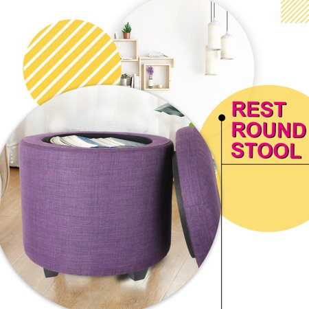 CASANINA Fabric Cushion Round Button Tufted Big and Deep Cylinder Storage Ottoman Footstool with Removable Top Lid