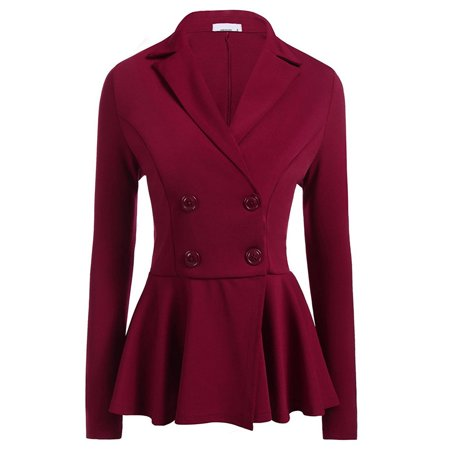 Double Breasted Crop (JustVH Women's Slim Double Breasted Blazer Casual Work Office Peplum Crop)
