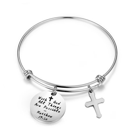 Sliver With God All Things are Possible Cross Bracelet Religious Jewelry Inspirational Gift - Als Bracelet