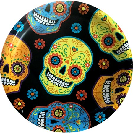 Halloween 'Sugar Skull' Large Paper Plates (8ct)](Halloween Bat Paper Plate Craft)