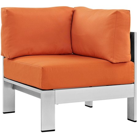 Modway S Outdoor Patio Aluminum Corner Sofa In Silver Orange