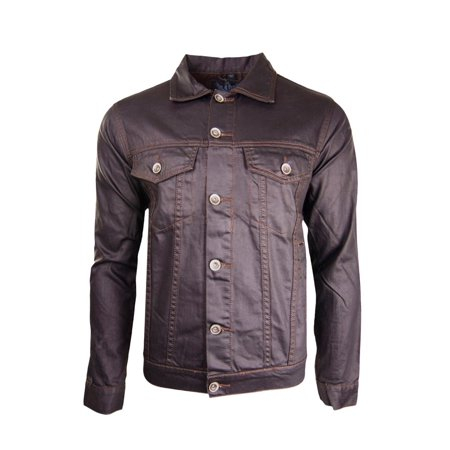 Men Luxury Button Up Jacket Brown Buttons Collar 2 Pockets Chocolate Color
