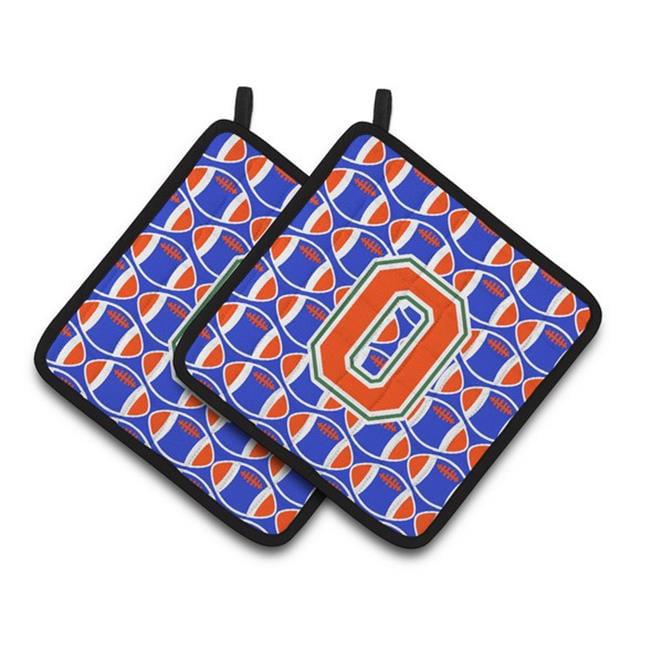 Carolines Treasures CJ1083-OPTHD Letter O Football Green, Blue & Orange Pair of Pot Holders, 7.5 x 3 x 7.5 in. - image 1 of 1