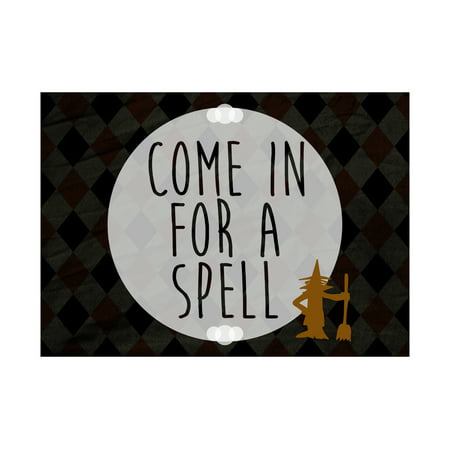 Come In For A Spell Print Witch Broom Broomstick Picture Diamond Design Background Large Halloween Seasonal De, 12x18 - Halloween Witch Spell Games