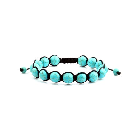 Men's Turquoise Polished Bead Adjustable Bracelet (10mm)](Cheap Turquoise Jewelry)