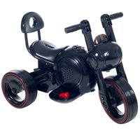 3 Wheel LED Mini Motorcycle Trike, Ride on Toy for Kids by Rockin' Rollers – Battery Powered Toys for Boys and Girls, Toddler - 4 Year Old, Black
