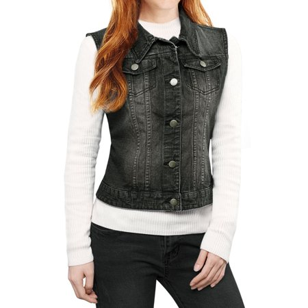 Women Buttoned Washed w Flap Pockets Denim Vest Coat