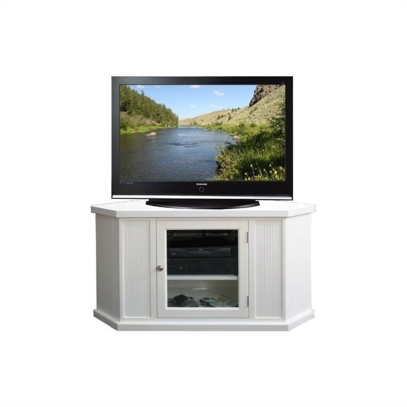 "Leick Furniture 46"" Corner TV Stand in White Finish"