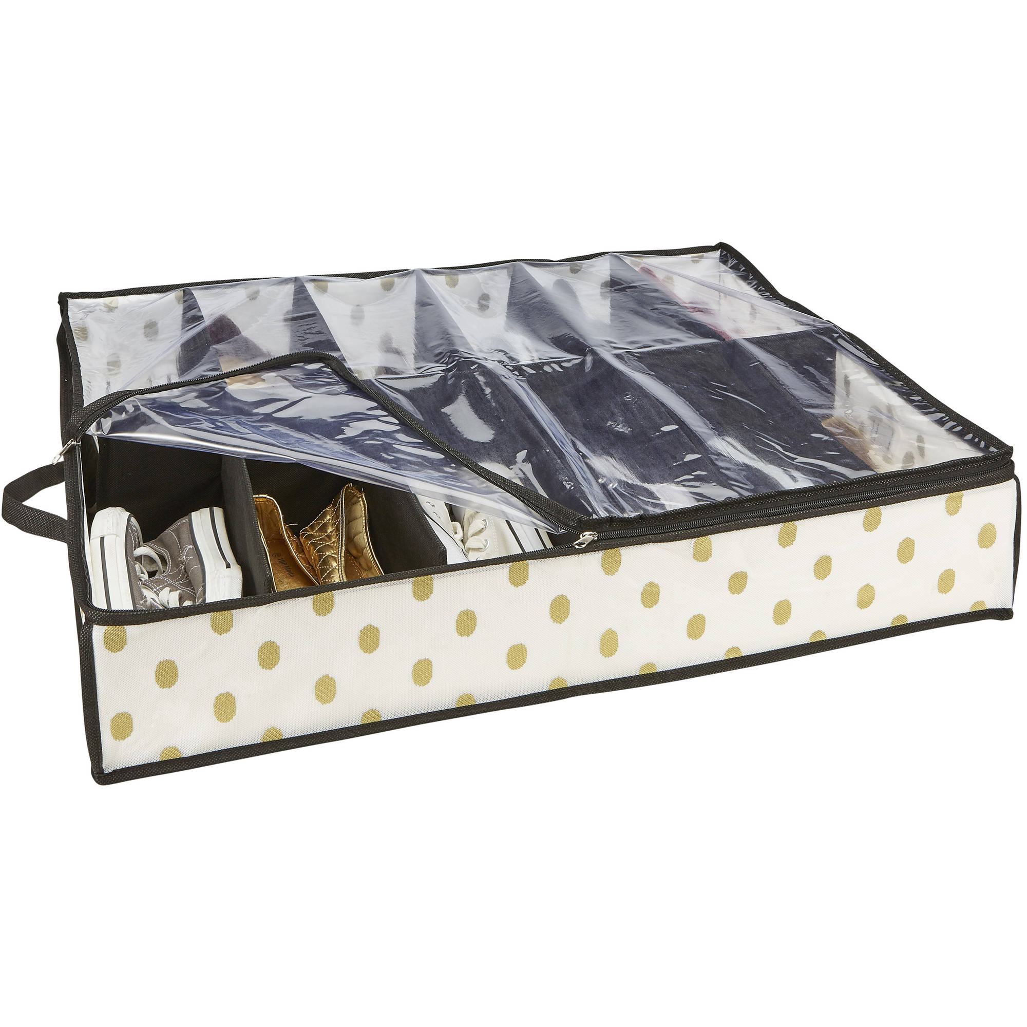 Under-the-Bed Shoe Organizer, 12 Pair, White/Gold Dot