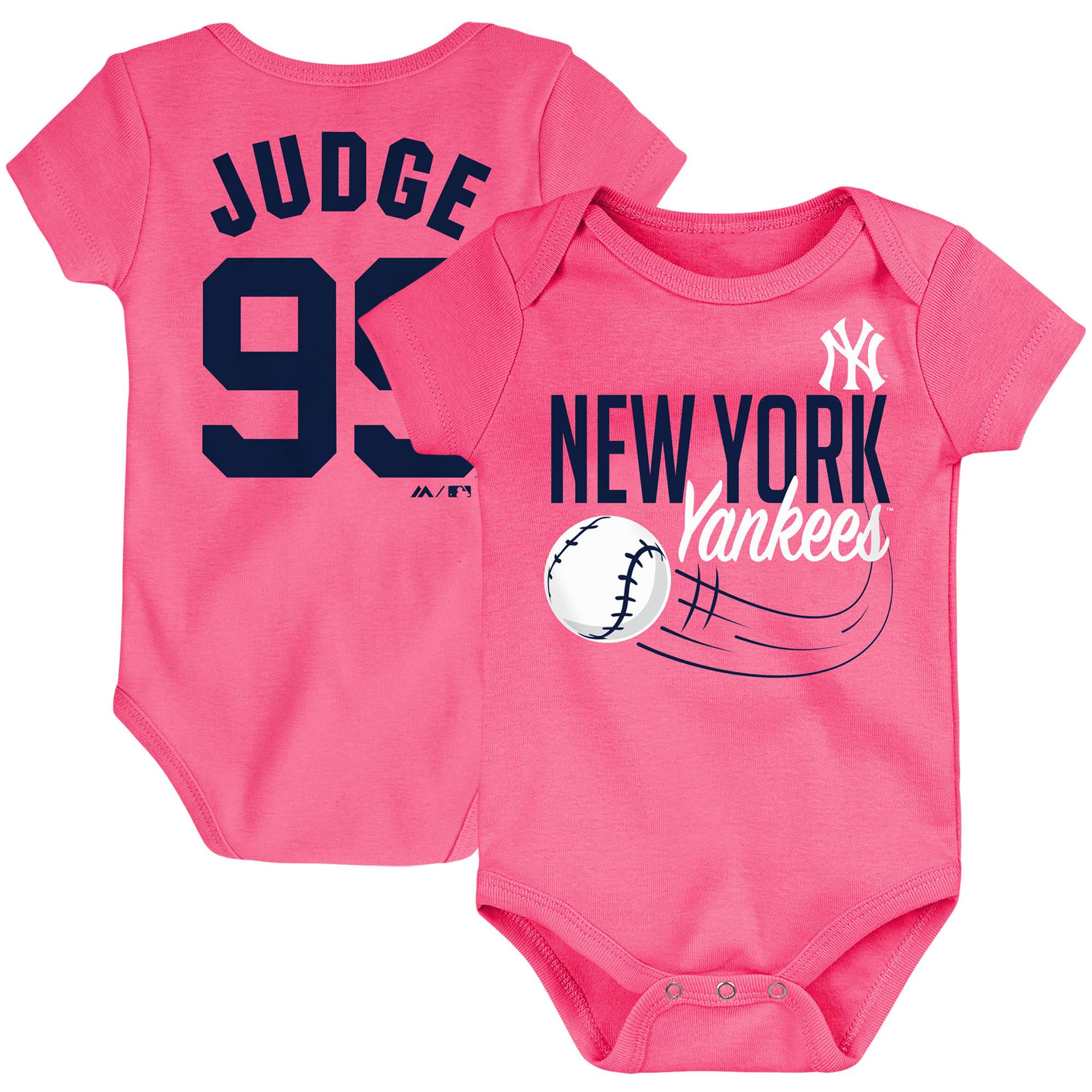 Aaron Judge New York Yankees Majestic Newborn & Infant Baby Slugger Name & Number Bodysuit - Pink