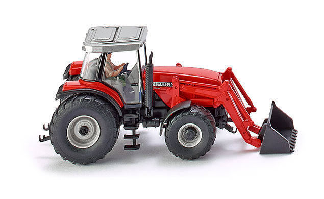 Wiking HO Scale Vehicle Farm Equipment Massey Ferguson MF8280 Tractor Loader Red by Wiking