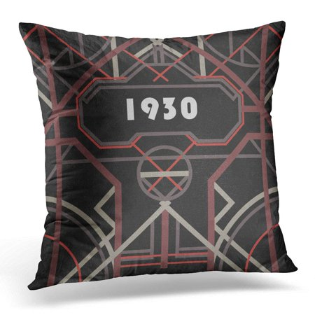 ARHOME Dark Artdeco Abstract Geometric Vintage Pastel Red and Gray Symmetric Grill on Black Messy Unique Pillow Cover 16x16 Inches Throw Pillow Case Cushion Cover ()