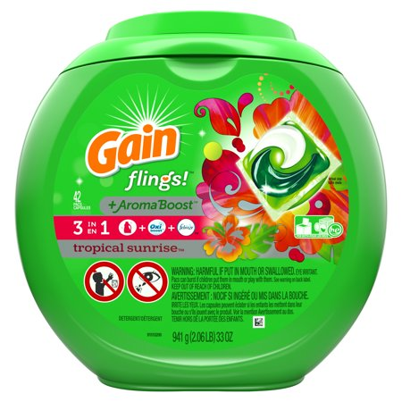 Gain Flings Aroma Boost Laundry Detergent Pacs Tropical Sunrise 42 Count