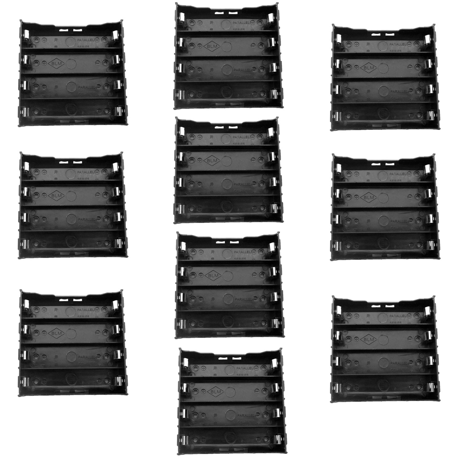 TrendBox Pack of 10 - DIY Battery Plastic Black Case Holders with 8 Pins Contact Fit For Four 4 x 3.7V 18650 Li-ion Lithium Rechargeable Batteries (Not Included)
