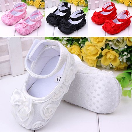Heepo Baby Girls' Sweet Bow Comfortable Anti-Slip Princess Toddler Crib Shoes 0-18M