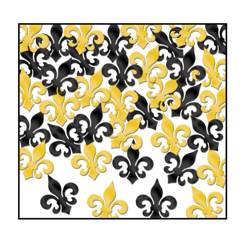 Club Pack of 12 Black and Gold Fanci-Fetti Fleur De Lis C...
