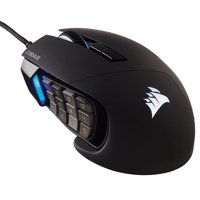Corsair Scimitar Pro RGB MMO 16,000 DPI Optical Sensor 12 Programmable Side Buttons Gaming Mouse - Black