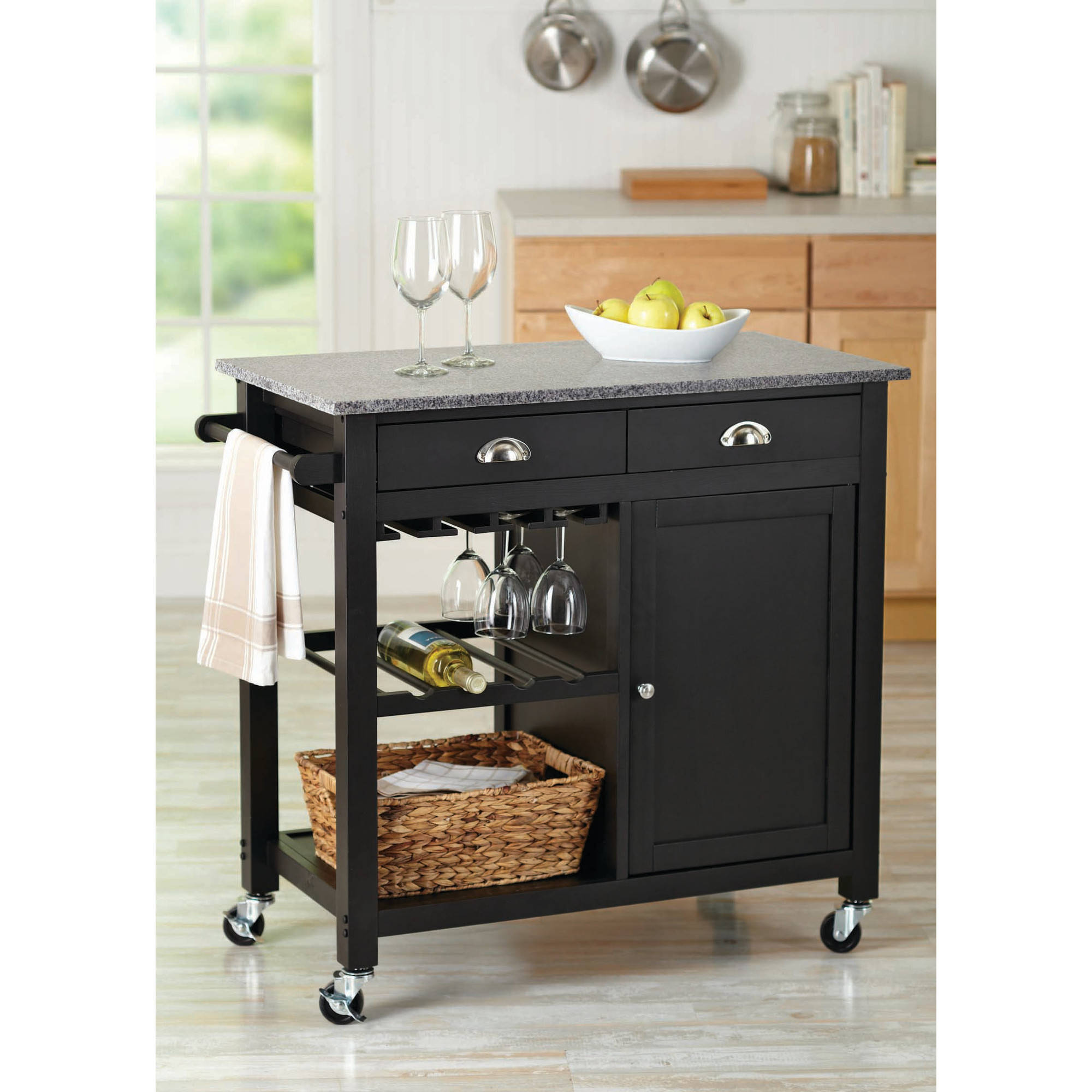 Better Homes And Gardens Deluxe Kitchen Cartisland Black Walmartcom - Kitchen islands at walmart