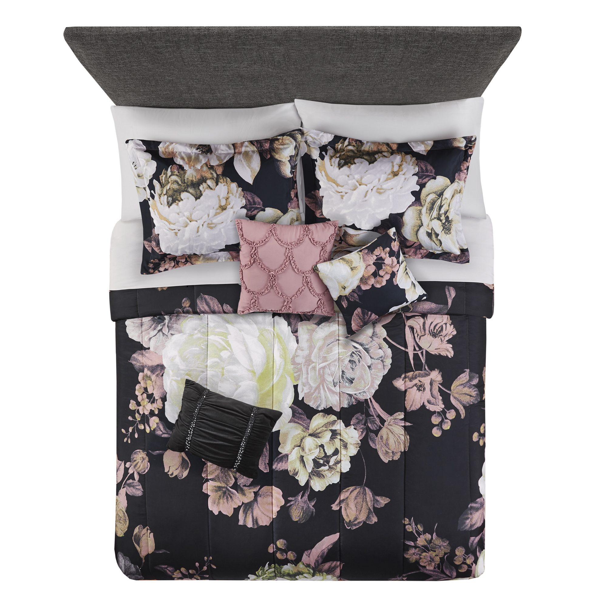Mainstays Black Floral 10 Piece Bed In A Bag Bedding Set W