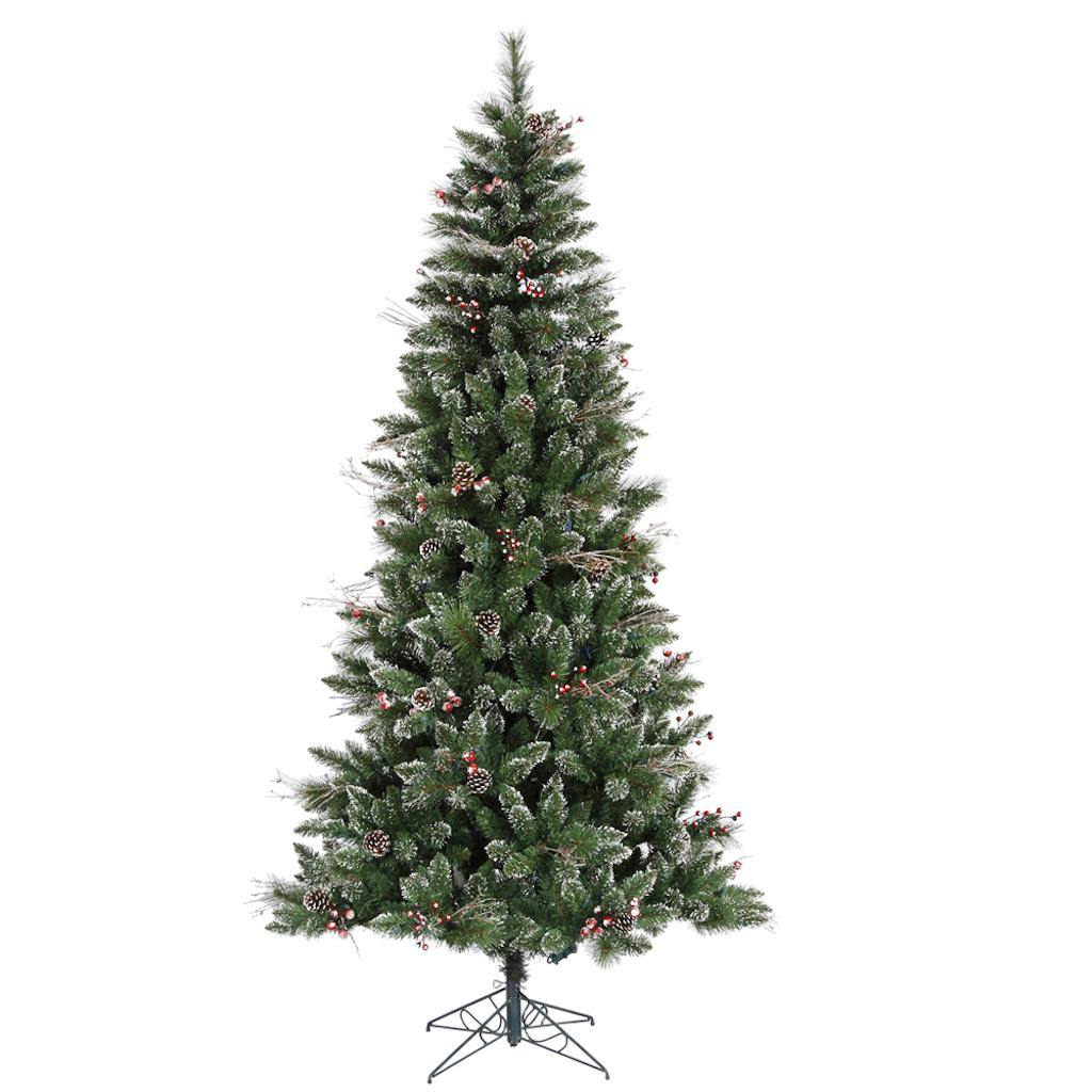 Vickerman 6' Snow Tipped Pine and Berry Artificial Christmas Tree, Unlit