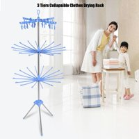 HERCHR 3-Tier Collapsible Drying Rack Foldable Stand for Hanging Towels Baby Clothes Socks Underwear, Clothes Drying Rack, 3 Tiers Drying Rack