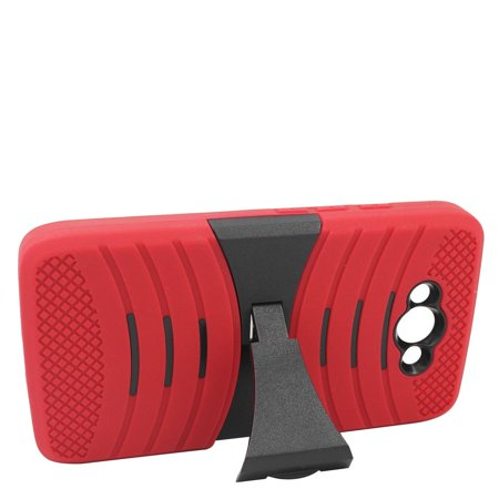 Turbo Rubber - EagleCell Wave Symbiosis Rubber Hybrid Hard Stand Case For Motorola Droid Turbo - Red/Black