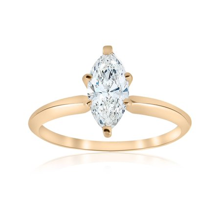 14 kt Yellow Gold 1 ct Marquise  Diamond Engagement Solitaire (1/2 Ct Marquise)