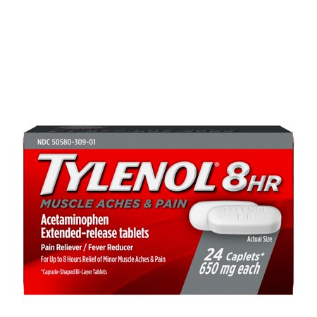 Tylenol 8 Hour Muscle Aches & Pain Tablets with Acetaminophen, 24 (Over The Counter Medicine For Muscle Cramps)