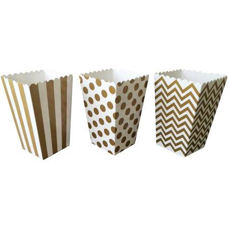 Gold Stripe, Chevron and Polka Dot Popcorn Treat Boxes 36 Pack