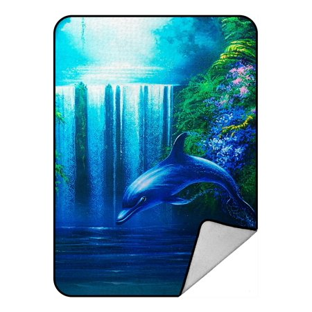 ZKGK Dolphins Blanket Crystal Velvet Front and Lambswool Sherpa Fleece Back Throw Blanket 58x80inches