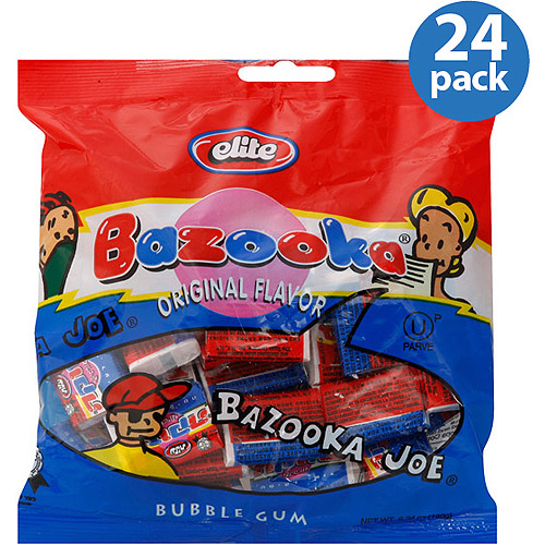 Elite Bazooka Original Flavor Bubble Gum, 6.34 oz, (Pack of 24)