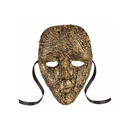 Halloween Textured Full Face Mask Gold](3d Face Texture Map Halloween)