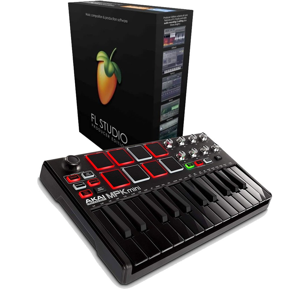 Akai MPK Mini MK2 Black and Chrome Keyboard with FL Studio 20 Producer Edition Download Card for Windows