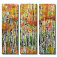All My Walls 'Billiant Hues of Autumn' by Janice Trane Jones 3 Piece Painting Print Plaque Set
