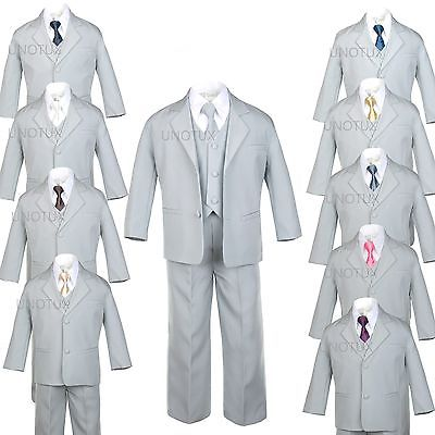 Prom Suit (6pc Baby TODDLER KID TEEN WEDDING PROM PARTY FORMAL TUXEDO BOY SUIT GRAY sz)