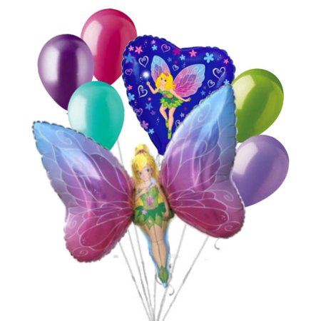 Fairy Birthday Party Supplies (7 pc Fancy Fairy Balloon Bouquet Party Decoration Birthday Tinkerbell)
