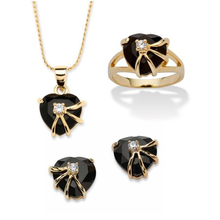 Heart-Shaped Genuine Onyx Pendant, Earrings and Ring Set in 14k Yellow Gold-Plated