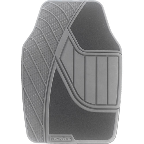 Goodyear 4pc Premium Carpet/Rubber Floor Mats, Gray