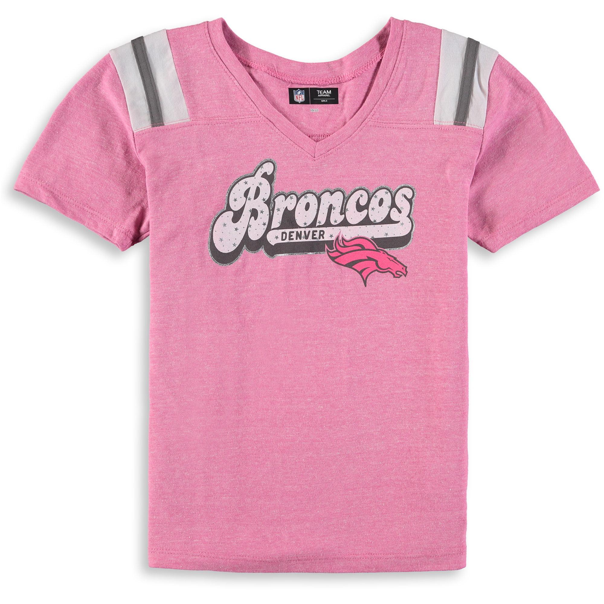 Denver Broncos New Era Girls Youth Star of the Game Tri-Blend T-Shirt - Pink - Yth L