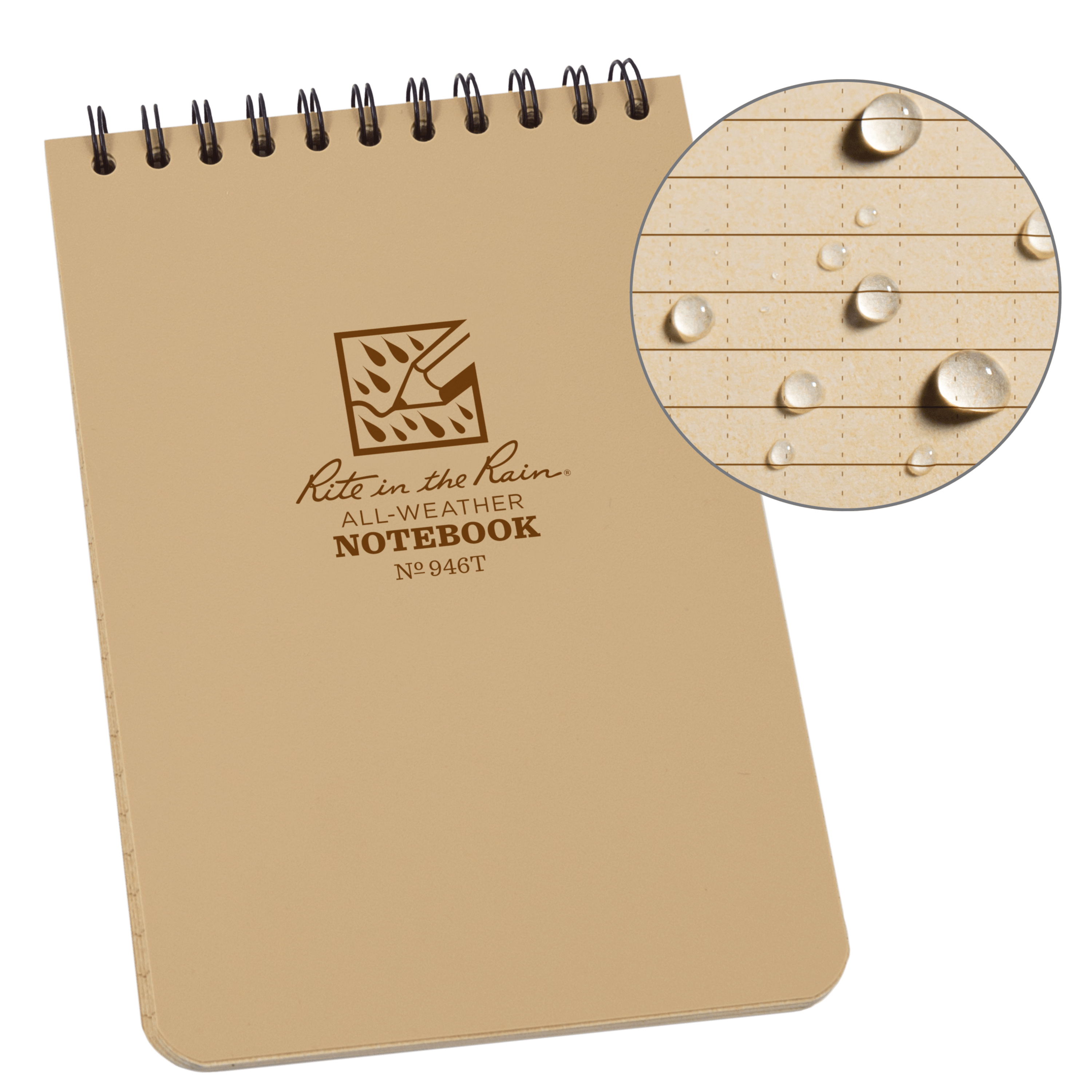 "Rite in the Rain All-Weather Top-Spiral Notebook, 4"" x 6"", Tan Cover, Universal Pattern (No. 946T)"