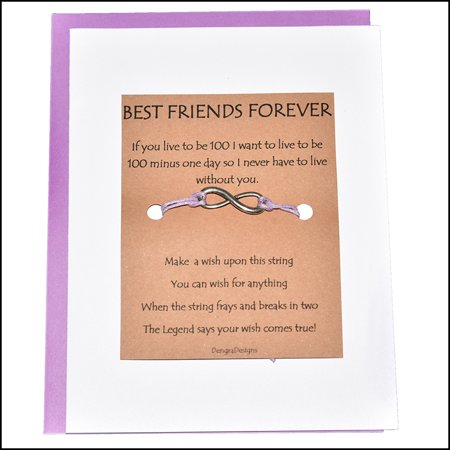 Thoughtful Greeting Card and Wish Bracelet Best Friends Forever with Infinity Charm - Charmed (Best Friend Wedding Wishes Funny)