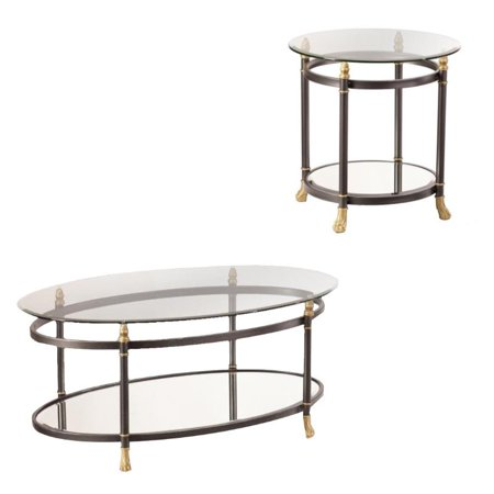 Oval Round Table - 2 Piece Oval Glass Coffee Table and Round Glass End Table Set in Gold