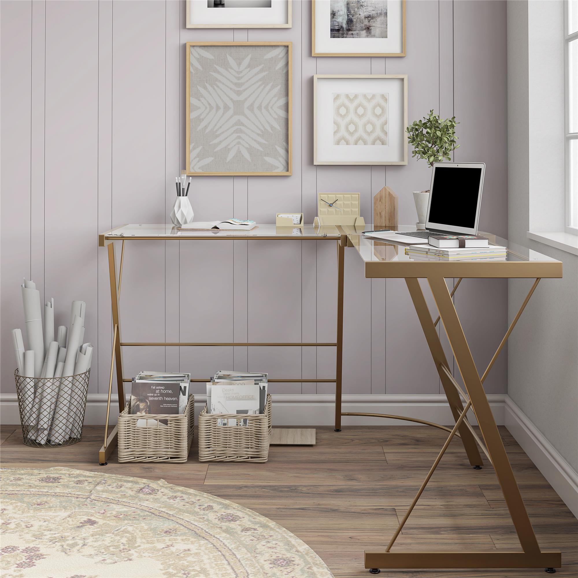 Ameriwood Home Perth Glass L Shaped Computer Desk Gold Walmart Com Walmart Com