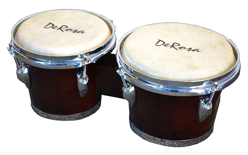 Deluxe Chrome Plated 7 and 8 Inch Bongo Drums Tunable Lap Bongos Dark Brown by