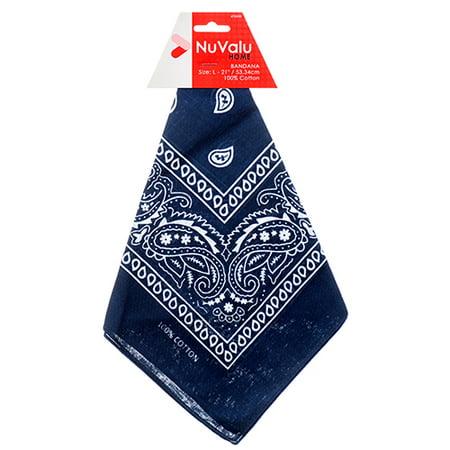 Bandana Wholesale (New 350989  Nuvalu Bandana Navy Blue 100% Cotton 21 X 21